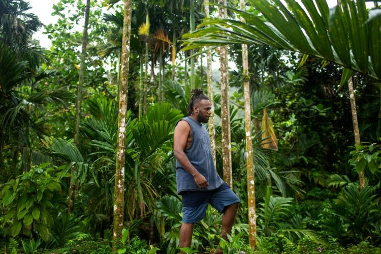 Philip Manakako climbs through the forest near his home village of Marasa. He was instrumental in pressuring Gallego, the logging company denuding the forest above his home, to leave. Image by Monique Jaques. Solomon Islands, 2020.